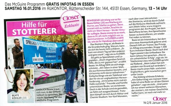 Hilfe für #Stotterer! Beate Köhler, die ihren ersten McGuire- Intensivkurs im Juli 2015 gemacht hat, wurde von dem Magazin Closer Magazine interviewed. Vielen Dank, Beate, super gemacht! Lesen Sie hier den Artikel: